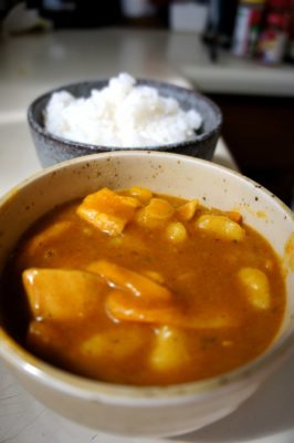Yellow Thai curry with yellow bell peppers