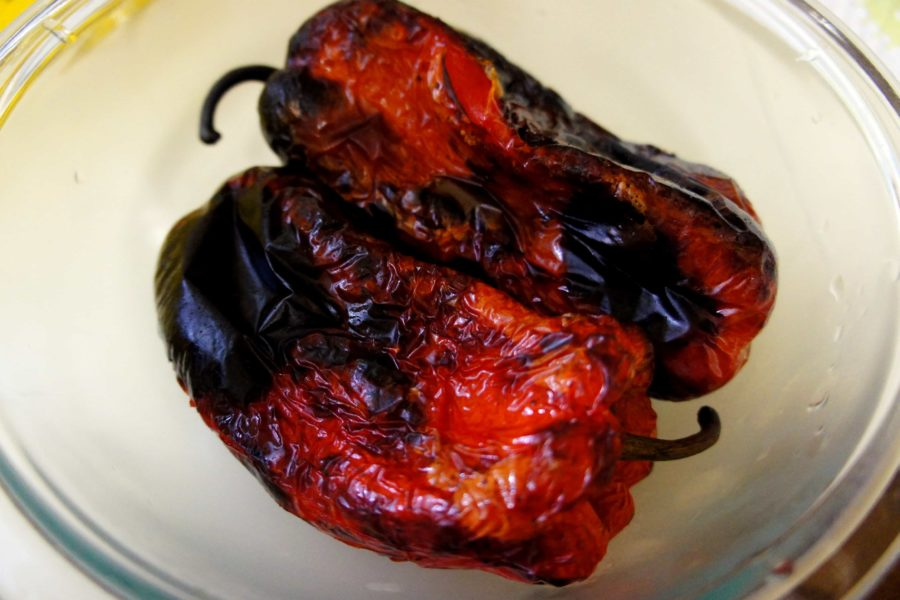 A Roasted Red Pepper has charred black skin