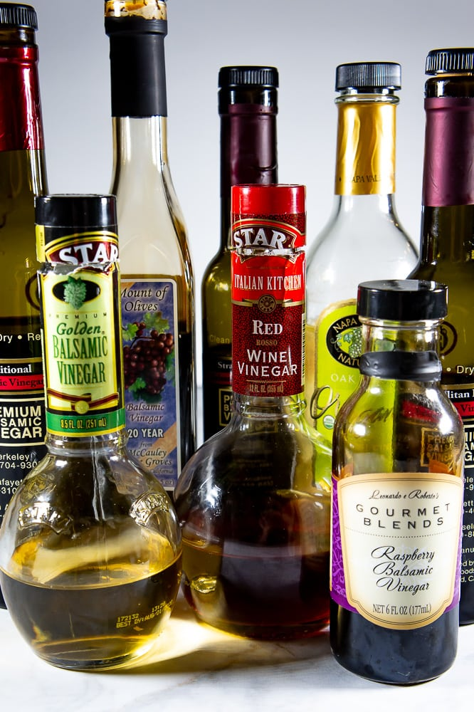 Basic vinegars that can make many different types of vinaigrettes.