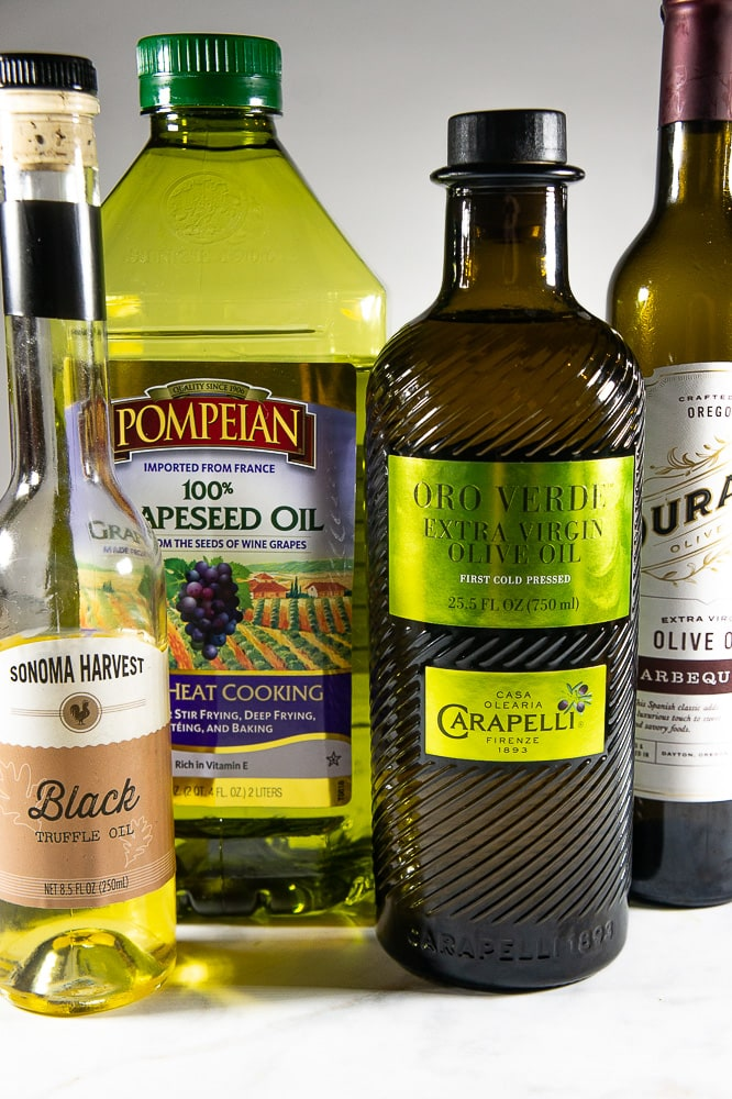 Extra Virgin Olive Oil and Canola oil are perfect for vinaigrettes, neutral and light.