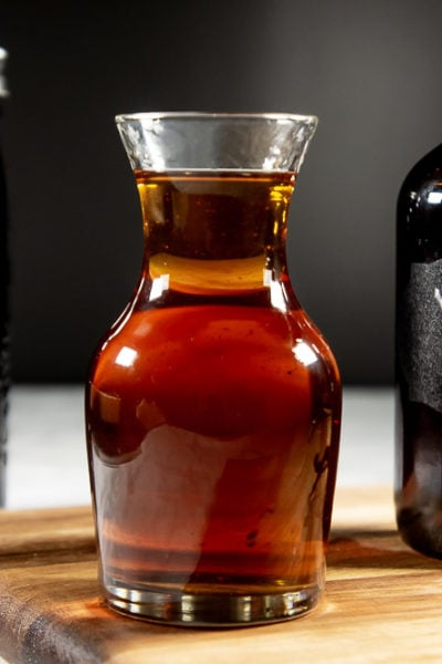 Homemade vanilla extract is beautiful, with little flecks of vanilla.