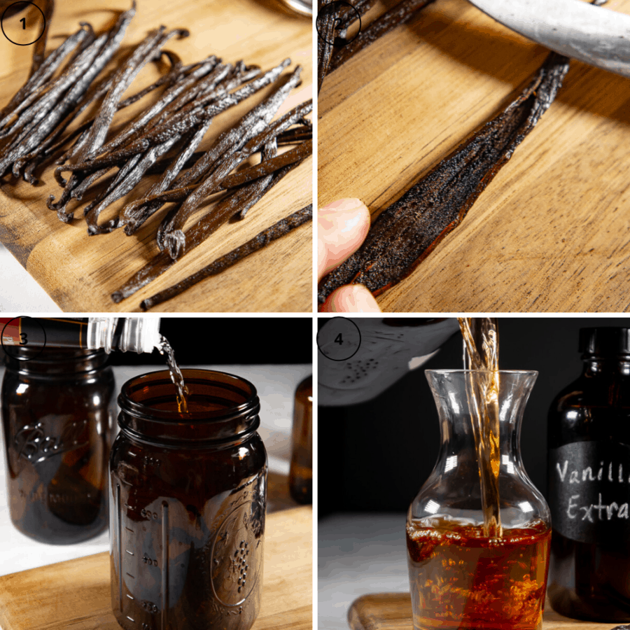 a series of process shots, a pile of vanilla beans on a cutting board, then a vanilla bean cut open, then the vanilla beans in a jar being filled with vodka then the finished vanilla pouring into a decanter.
