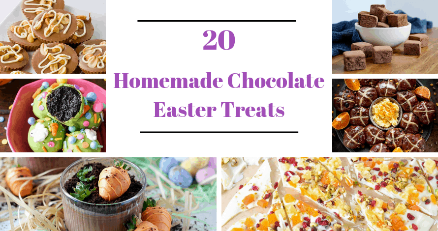 collage of homemade chocolate easter treats