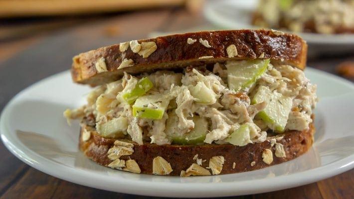 Chicken salad on dark sliced bread