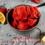 bowl of strawberry sorbet