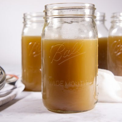 Jars of homemade chicken stock