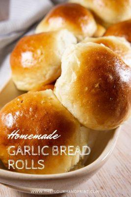 tray of garlic bread rolls