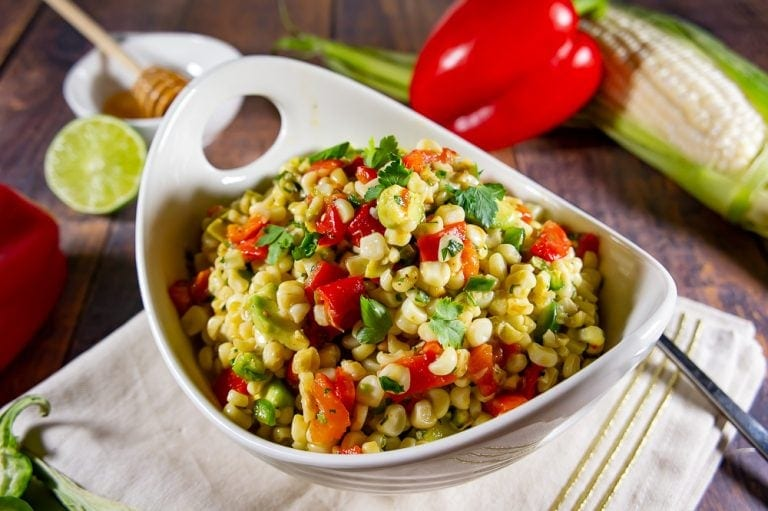 Fresh Corn Salad with Avocado and Roasted Red Peppers