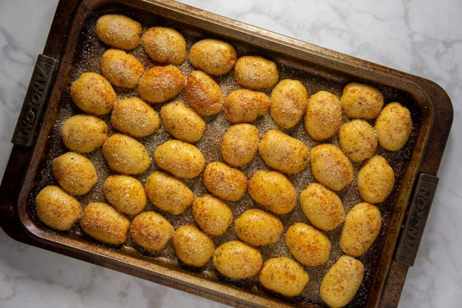 tray of cut potatoes