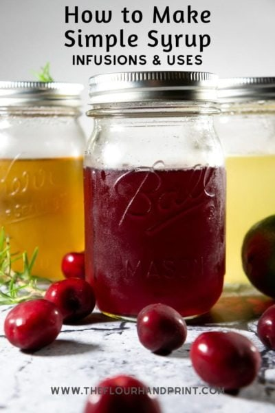 3 jars of flavored simple syrups