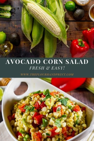 avocado corn salad recipe ingredients and a finished bowl of corn salad