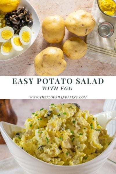 collage of images, one of potato salad ingredients. Potatoes, eggs, olives, pickles, and mayo. Also a bowl of finished potato salad.