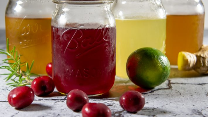 4 jars of infused simple syrup