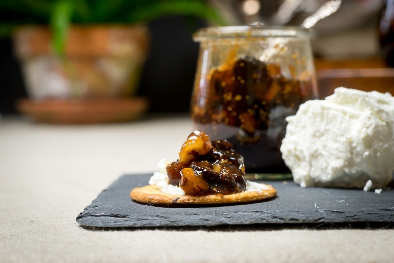 meyer lemon and dried fig conserves with goat cheese