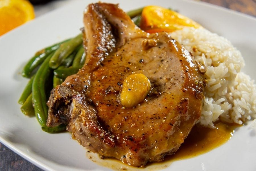 Stove Top Pork Chops with Orange Ginger Sauce - The Flour
