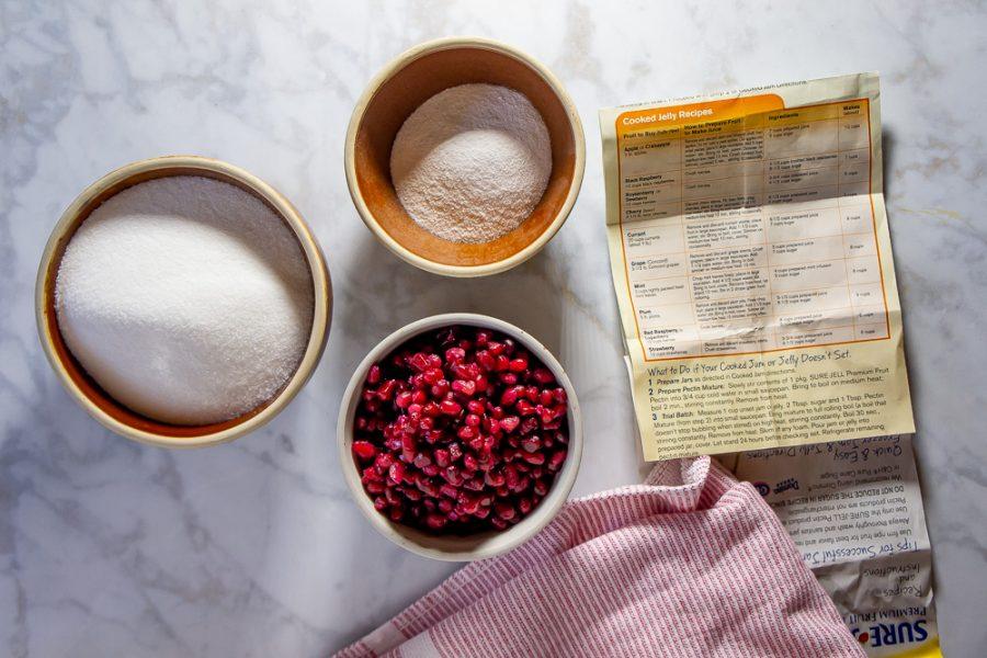 pomegranate seeds, sugar, and pectin