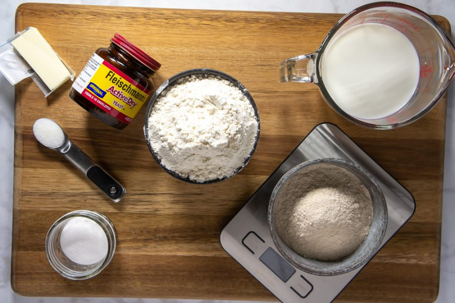 bowl of flour, yeast, sugar, salt, and milk