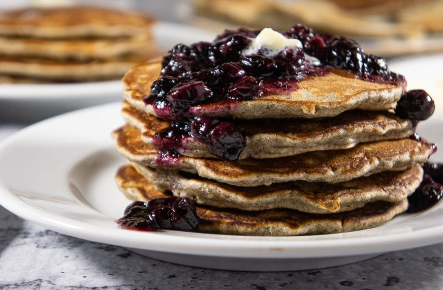 A stack of buckwheat pancakes