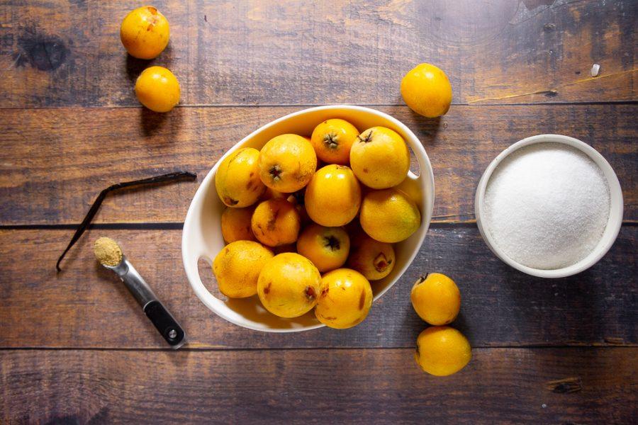 loquats, sugar, vanilla bean, and ground ginger