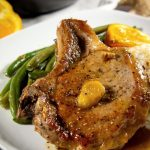 Bone in stove top pork chops with orange ginger sauce