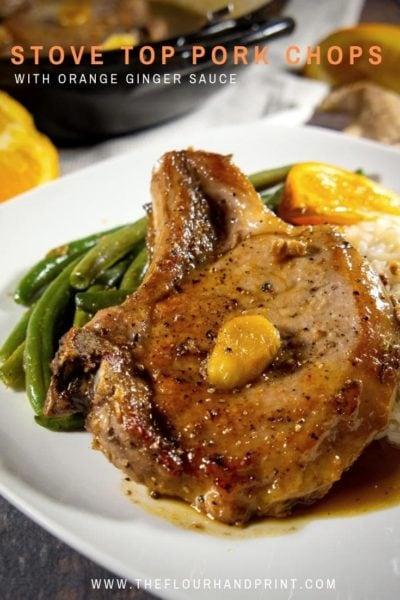Bone in stove top pork chops with orange ginger sauce