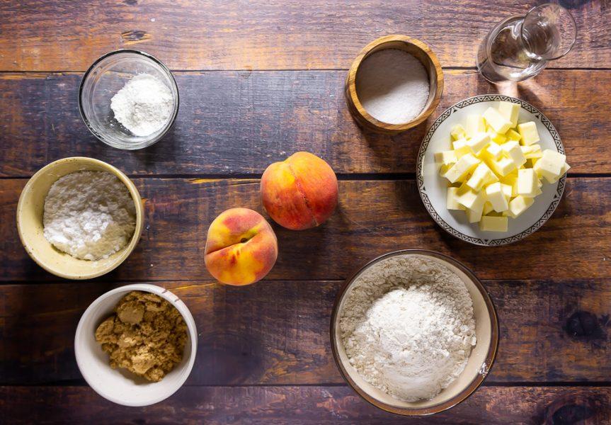peach hand pie ingredients, peaches, sugar, flour, butter, cornstarch, and water