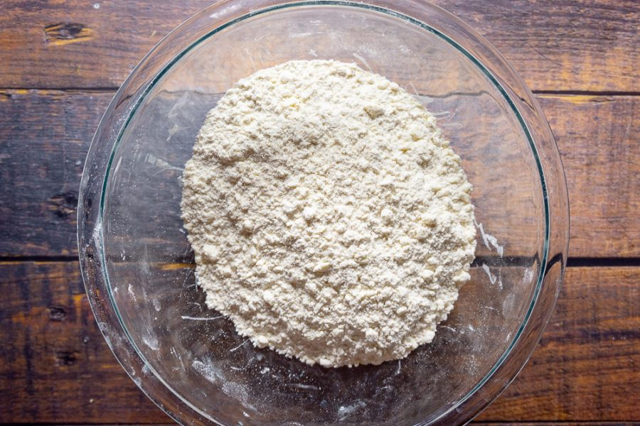 flour and butter combined into crumbs