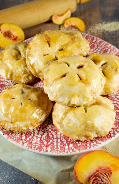 finished platter of peach hand pies