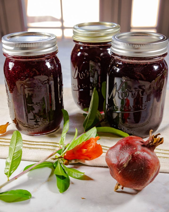 three jars of pomegranate jelly
