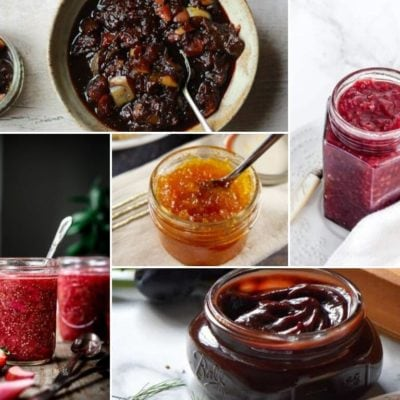 collage of various jams and jellies
