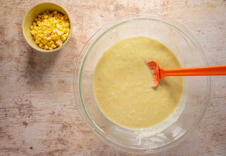 bowl of cornbread muffin batter
