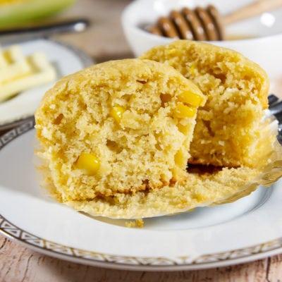 one cornbread muffin cut open