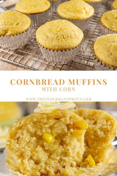 Cooling rack of cornbread muffins then a second picture of a cut open cornbread muffin