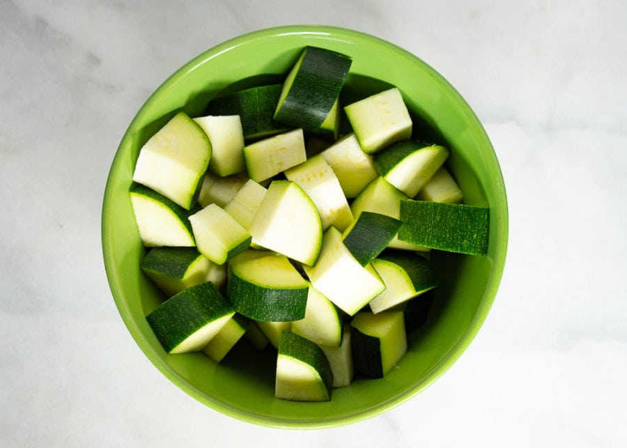 a bowl of diced zucchini