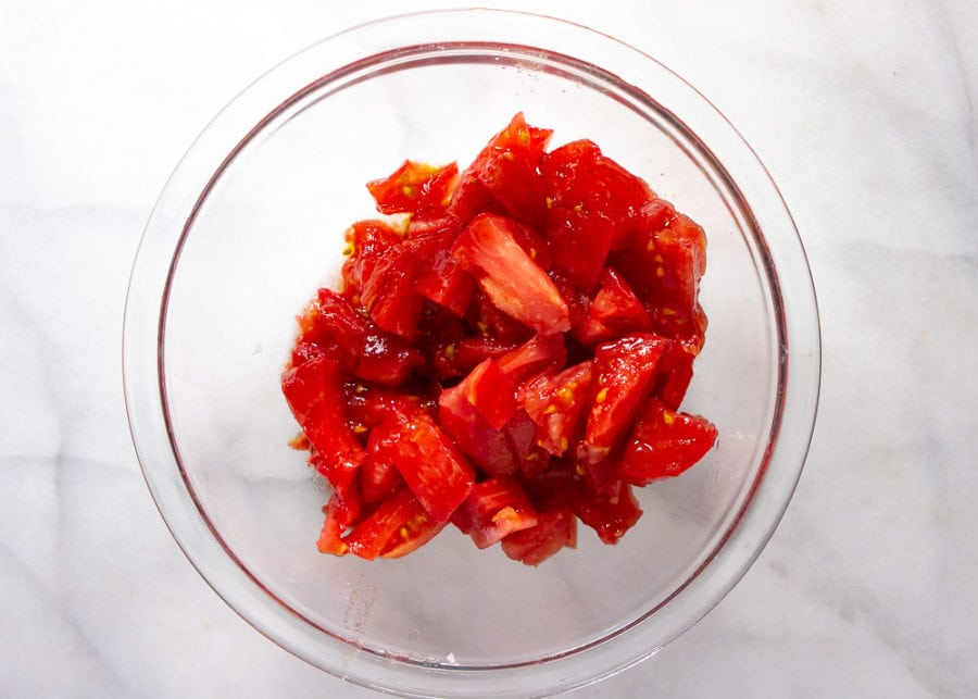 tomatoes peeled and chopped in a bowl