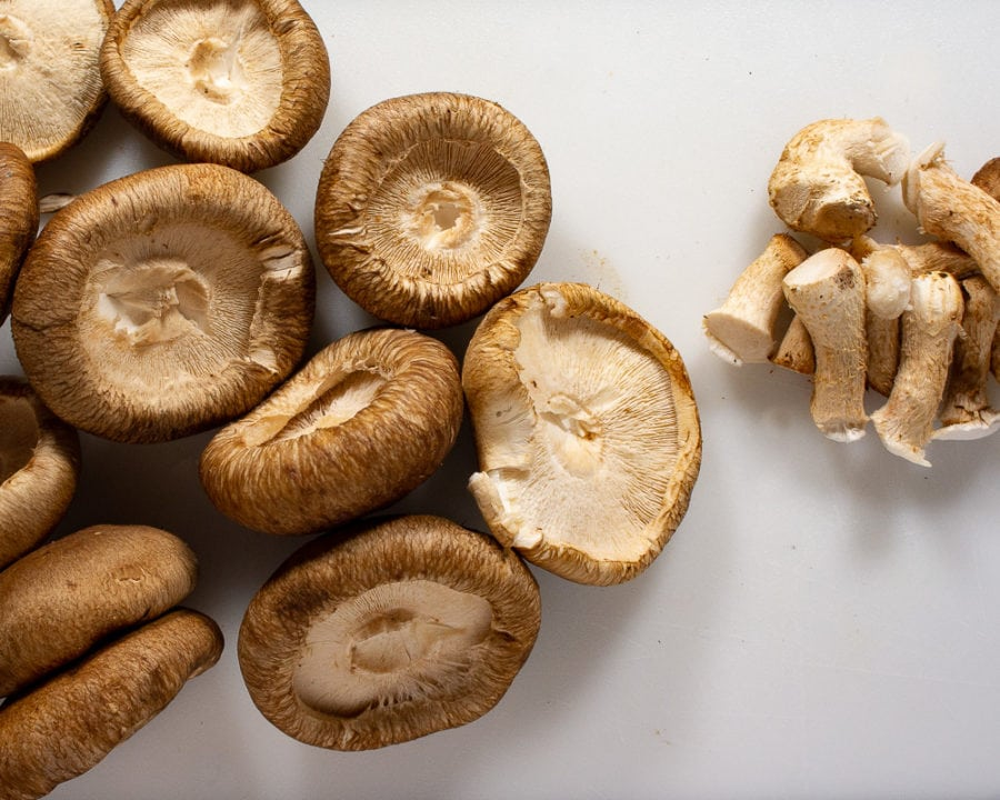 shiitake mushrooms destemmed