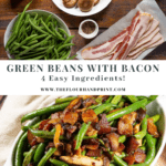 a bowl of green beans next to a bowl of mushrooms and sliced bacon on a wooden table above an image of a finished dish of sauteed green beans with mushrooms, onions, and bacon