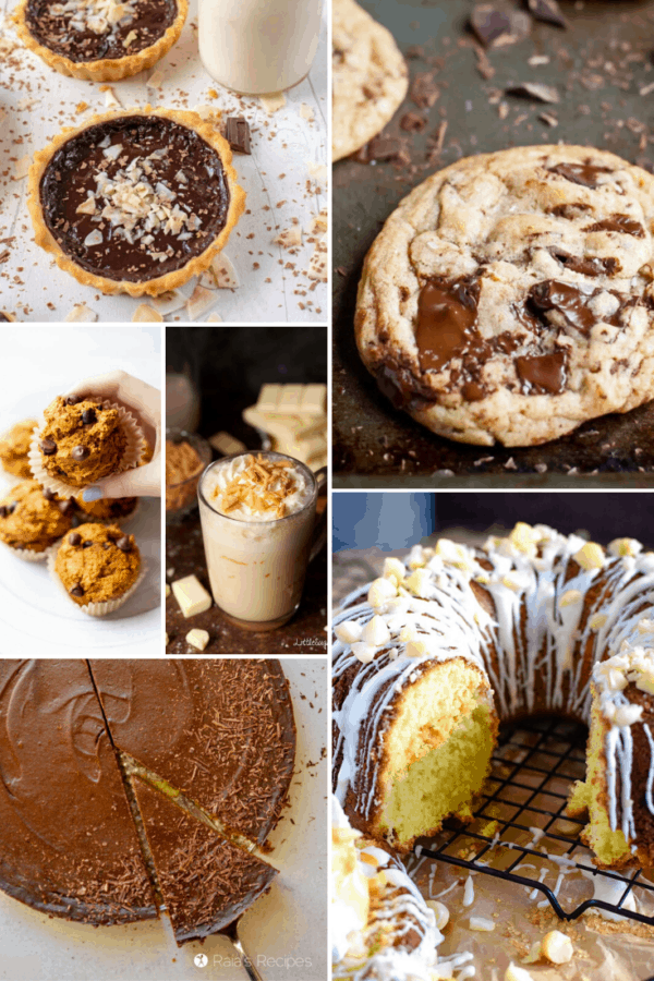 A collage of chocolate baked goods like chocolate chip cookies, chocolate pies, chocolate muffins, chocolate cake, and hot chocolate