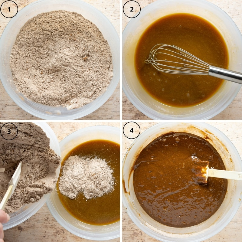 4 images of making a gingerbread loaf, a bowl of dry ingredients, a bowl of wet ingredients, the dry being added to the wet, then it all mixed.