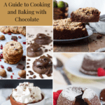 A collage of chocolate baked goods including a chocolate cake, chocolate cranberry cookies, chocolate frosted cookies, a chocolate lava cake, and hot chocolate