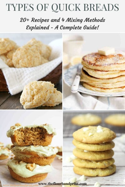A basket of biscuits, a plate of pancakes, a stack of baked doughnuts, and a stack of white chocolate cookies