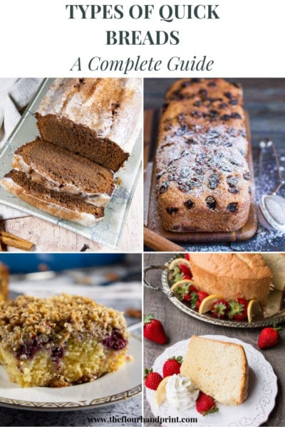 A loaf of chocolate bread, a loaf of raisin cinnamon bread, a coffee cake slice with blackberries, and a chiffon cake slice with strawberries