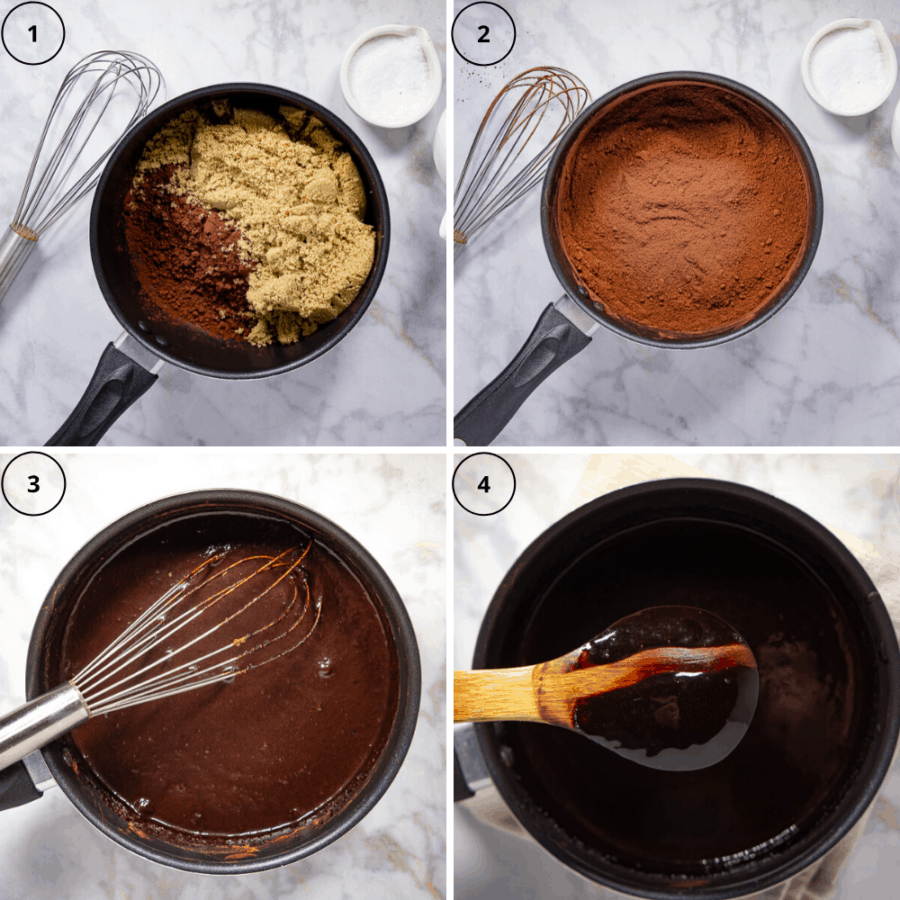 a black saucepan with brown sugar and cocoa powder added, then the two whisked together, then with water added and whisked until smooth, then the finished sauce with a wooden spoon held over top with a trail wiped across the back