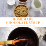 A collection of ingredients used to make chocolate syrup over an image of cooked chocolate syrup in a pot with a wooden spoon coated in chocolate held over top