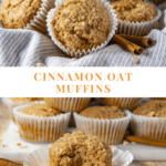 A pile of oatmeal muffins on a blue striped towel over a second image of a stack of muffins sitting behind a single muffin with a bite taken out of it, all on a wooden table