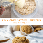 A bowl of oats and flour with another bowl of wet ingredients being poured into it over a second image of a single baked oatmeal muffin in a white wrapper.