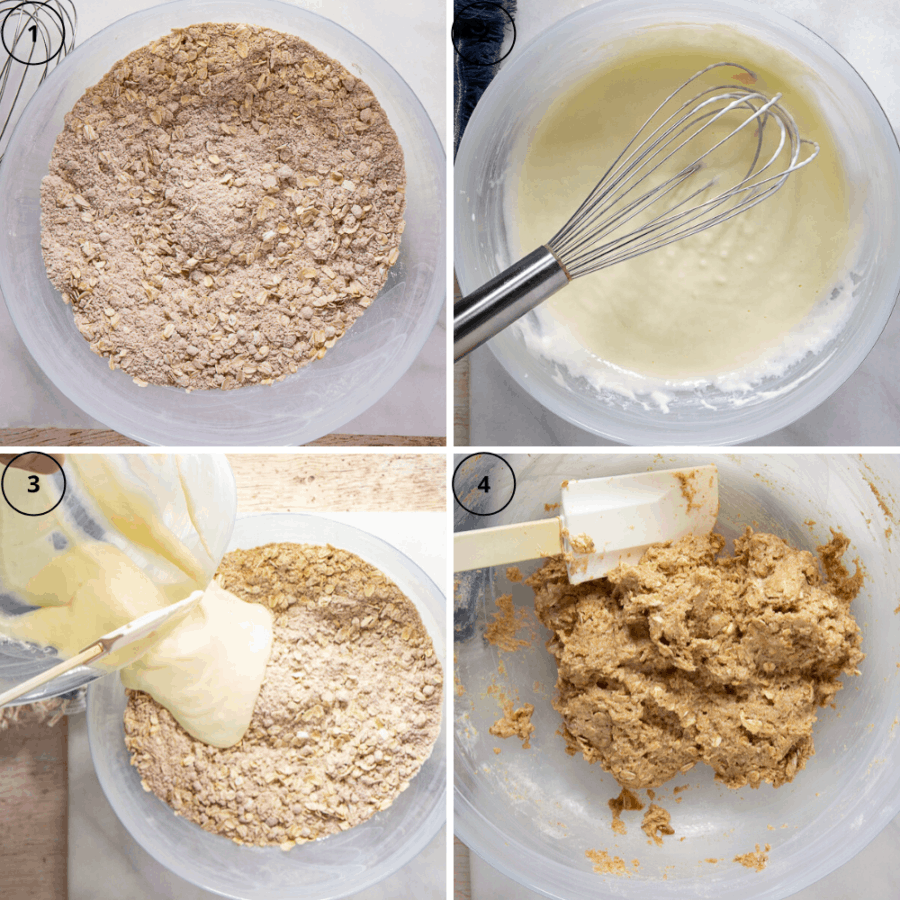The process of making oatmeal muffins in 4 images, the first the dry ingredients mixed together, the second a bowl of white batter of the wet ingredients mixed, the third of the wet ingredients being poured into the dry, and the third of the thick, oat studded light brown batter.