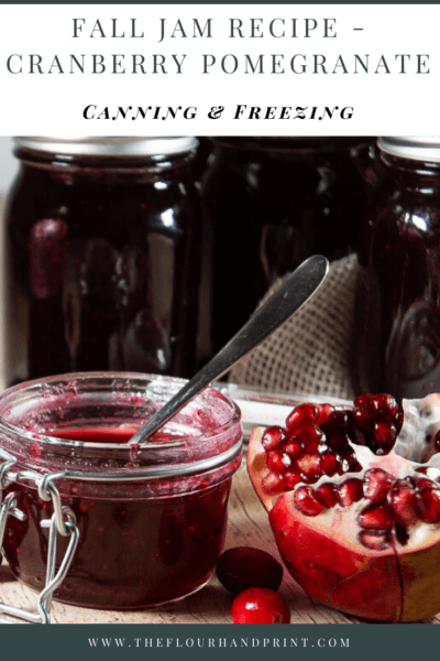 A small flip top jar of cranberry pomegranate jam with open pomegranates and cranberries around it in front of several larger jars of the jam