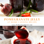 three jars of pomegranate jelly with a pomegranate blossom on a beige napkin over an image of a bowl of jelly with a spoon dipped in