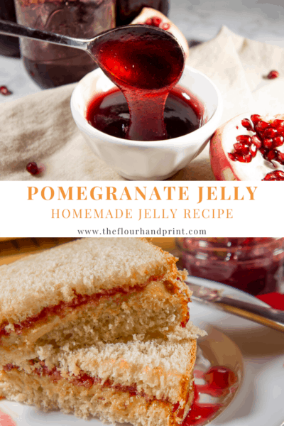 a bowl of pomegranate jelly surrounded by pomegrante seeds on a beige napkin in front of several jars of jelly over an image of a pb&j sandwich made with pomegranate jelly on a white plate